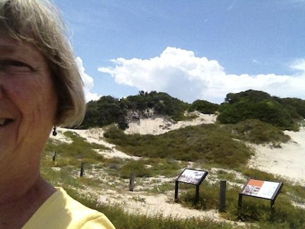 The tallest sand dune in Florida is on an island.